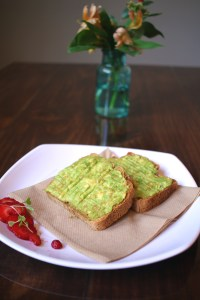 Vegan, gluten-free toast topped with avocado and Himalayan sea salt from Well + Fed Louisiana.
