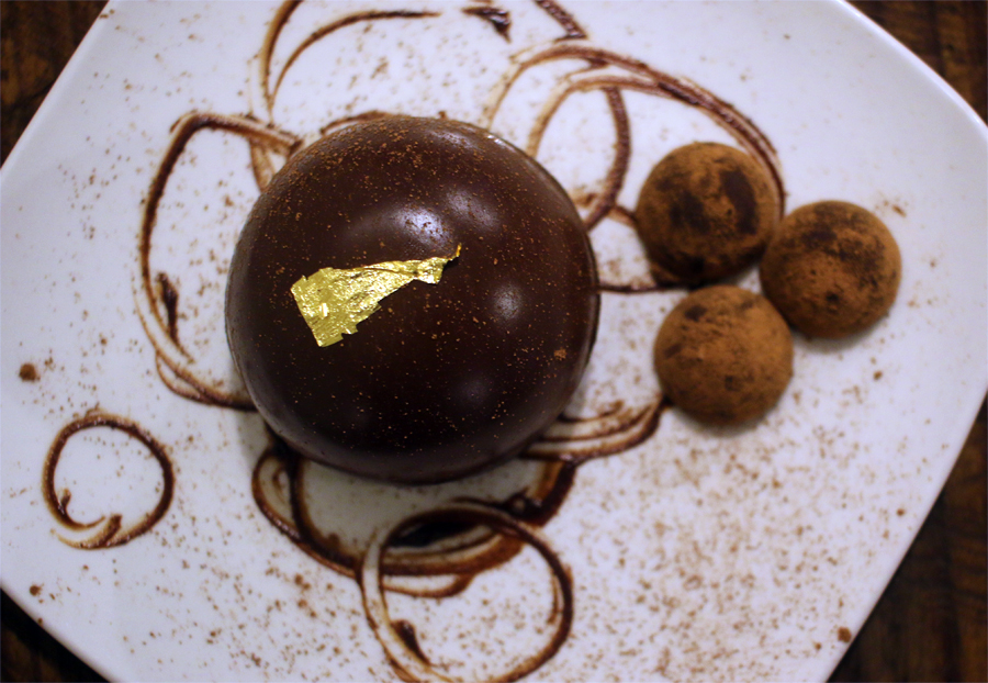 A photo of a chocolate mousse dessert