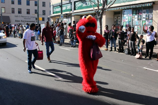 Elmo spots the camera during the Krewe of Harambee Martin Luther King Jr. Day Mardi Gras Parade in Shreveport.