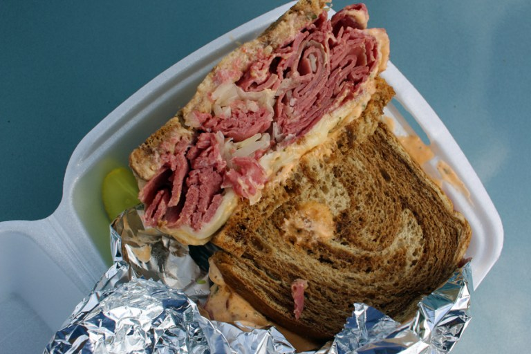 A photo of a Reuben sandwich