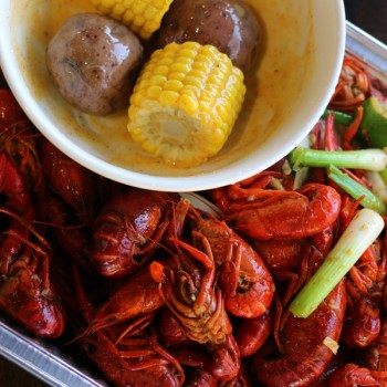 A photo of boiled crawfish from The Cajun Asian