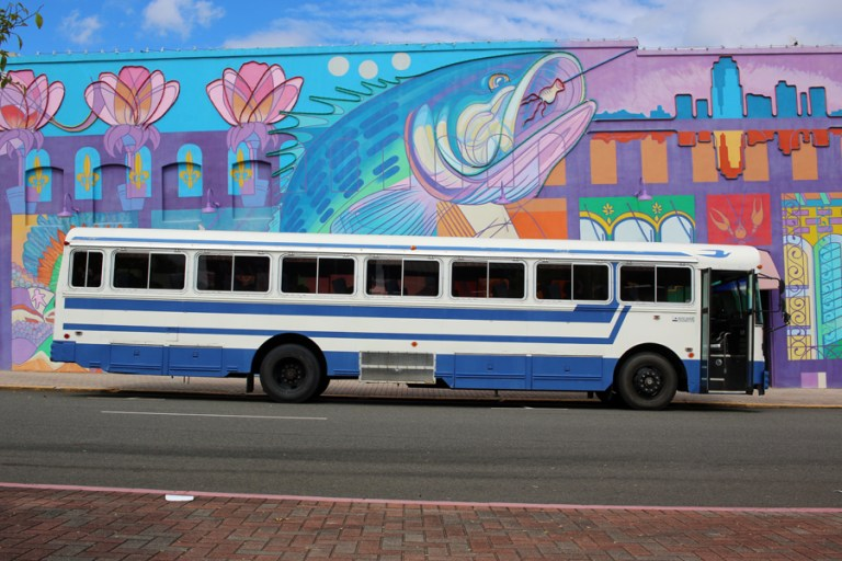 A photo of the Kiltabar Transport shuttle bus in Shreveport