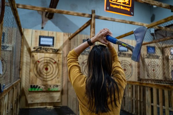 Axe throwing at Bayou Axe Co.
