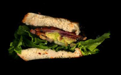 Urban Rustic: Guacamole BLT, Bacon,Guacamole, Lettuce, Tomato, On White Toast