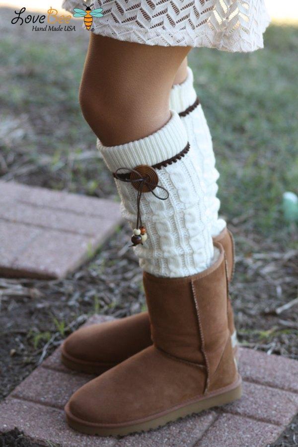 Legwarmers - Boho Knitted Ivory Leather Bow Wood
