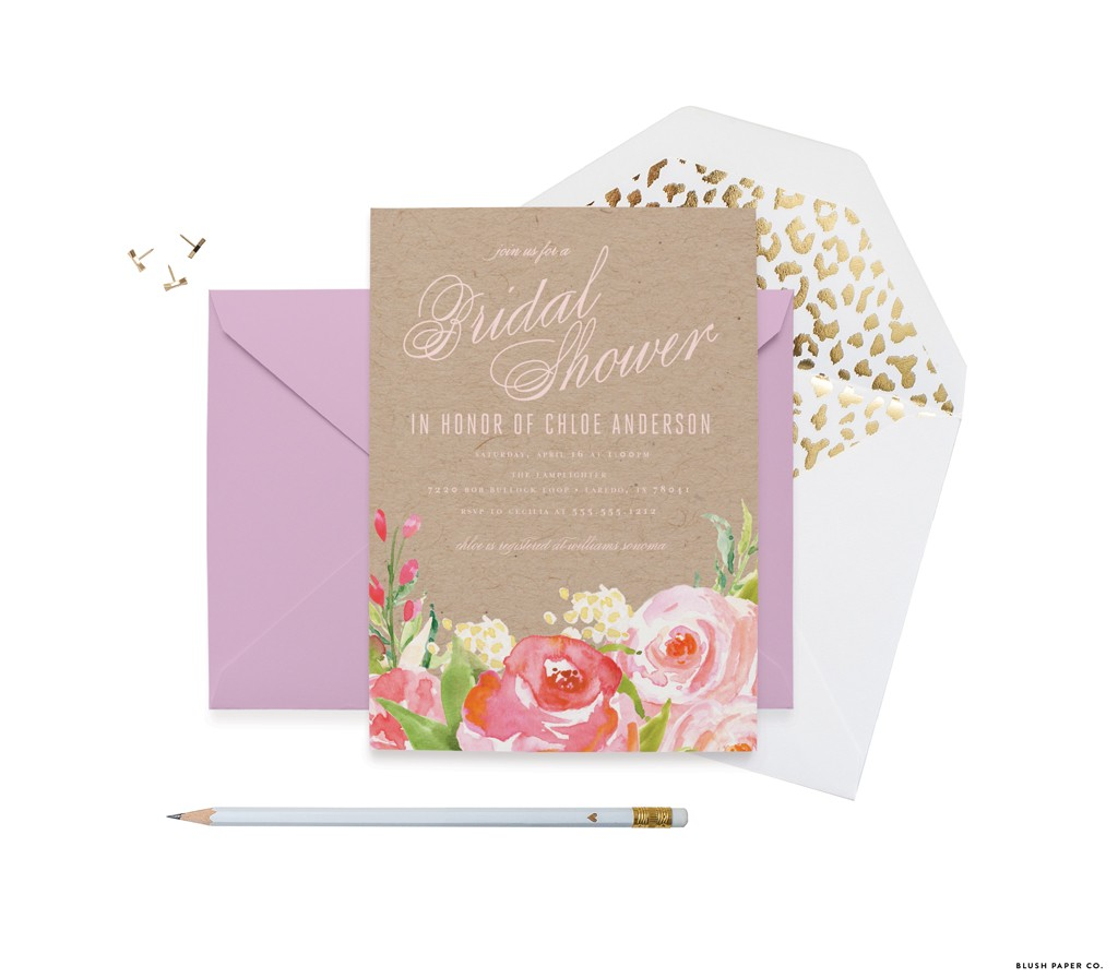 Romance Bridal Shower Invitations by Blush Paper Co.