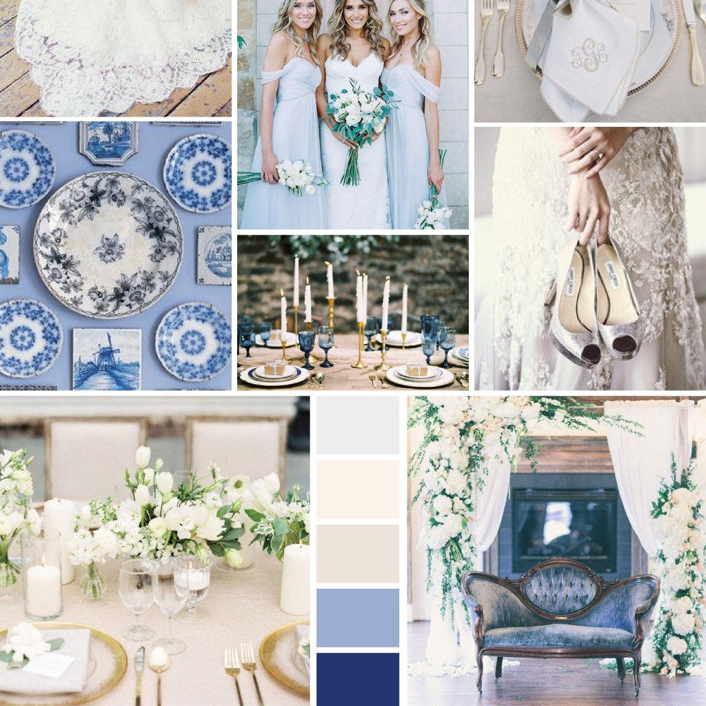 Chinoirise Blue and White Mood Board | Blush Paper Co.
