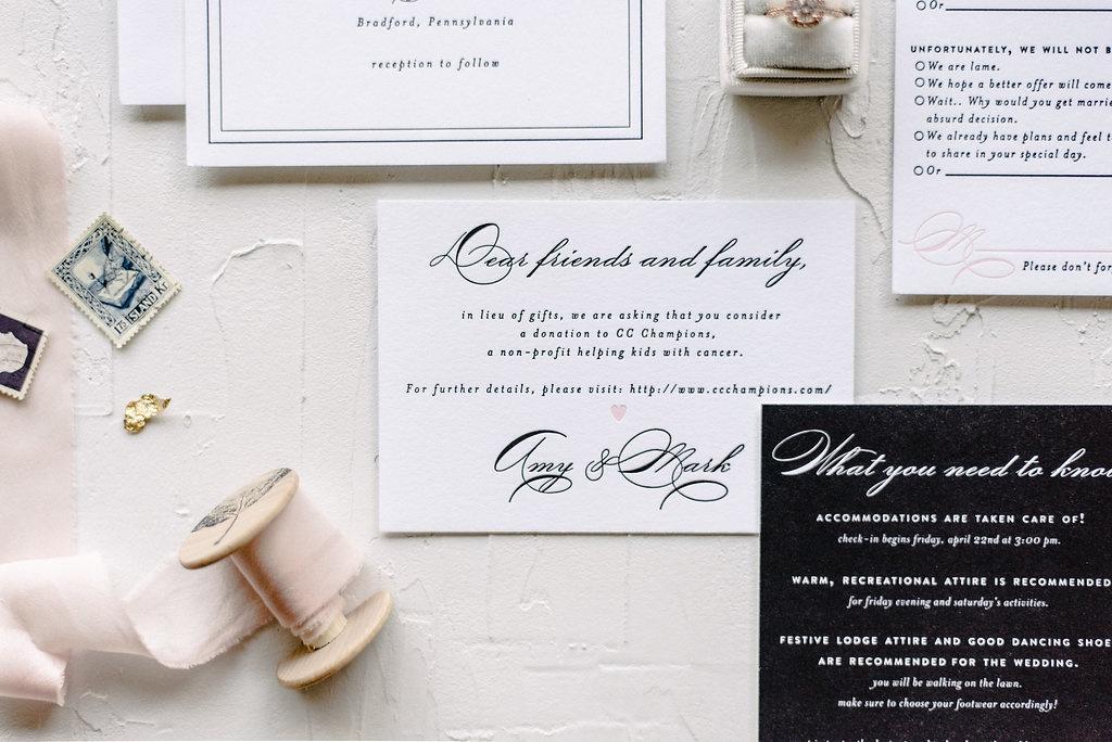 Classic Black and White Letterpress Invitation | Blush Paper Co.