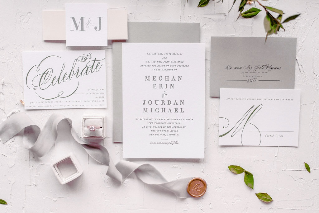 Grey, Olive and Cream Letterpress Wedding Invitation | Blush Paper Co.