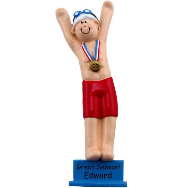 Swimming Ornament Male With Ribbon Personalized Keepsake