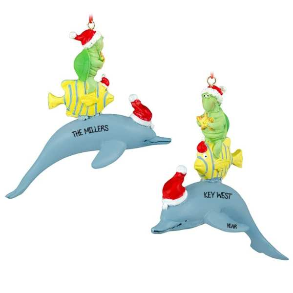 Dolphin Wearing Santa Hat With Turtle Fish Ornament
