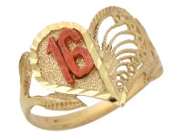 10k / 14k Two-Tone Gold Majestic Sweet 16 Young Lady Heart ...
