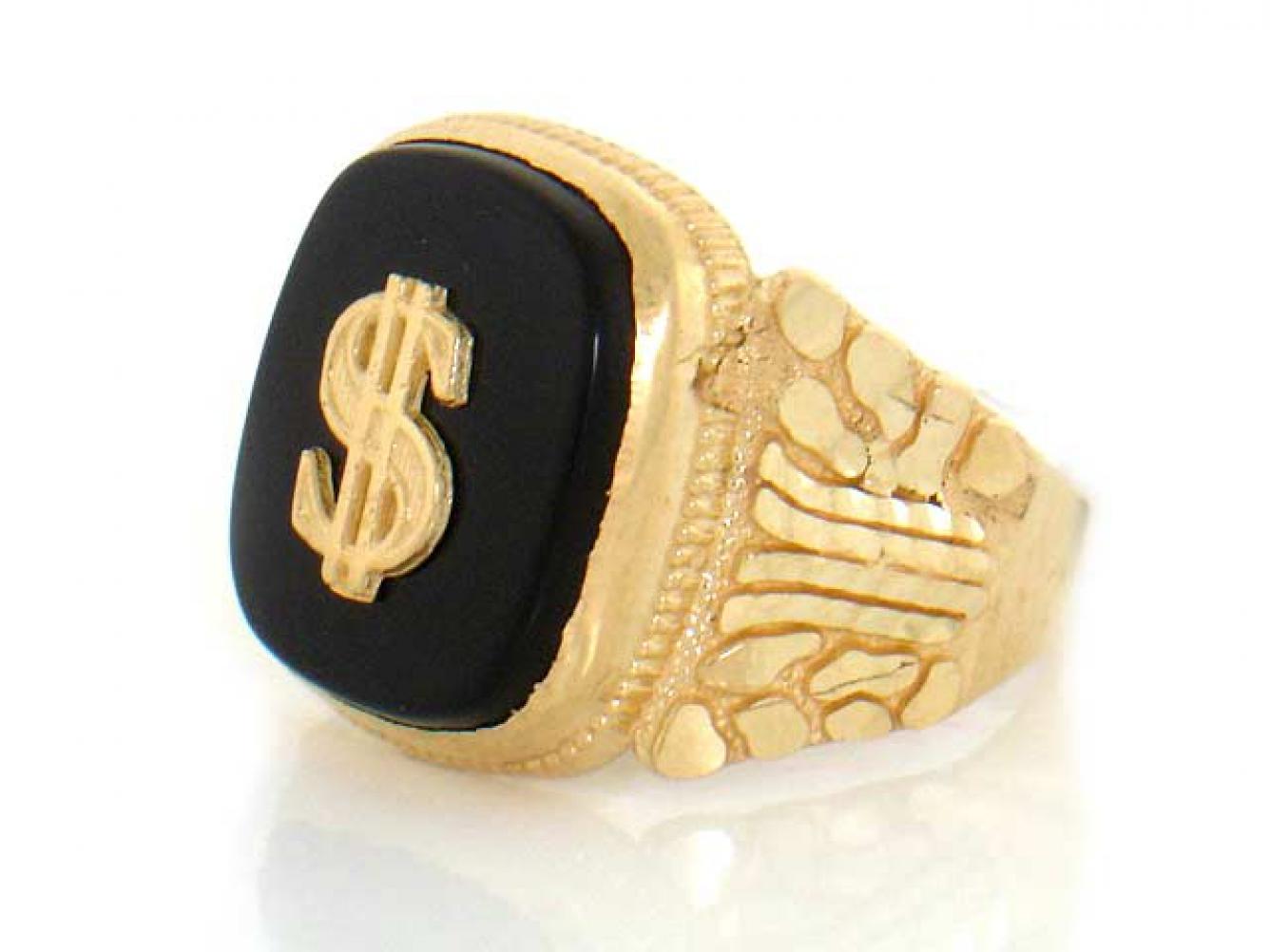 10k / 14k Yellow Gold Onyx Dollar Sign Mens Nugget Ring