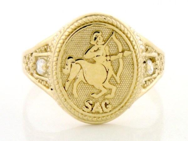 10k 14k Solid Yellow Gold Zodiac Cz Ring - Sagittarius