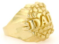 10k or 14k Solid Yellow Gold Nugget Dad Mens Ring