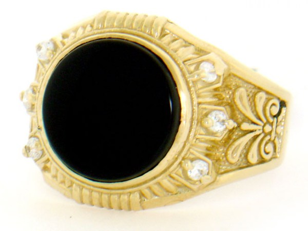 10k 14k Solid Yellow Gold Onyx Cz Mens Ring