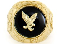 10k / 14k Solid Yellow Gold Nugget Round Onyx Eagle Mens