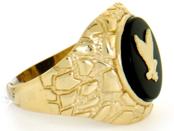 10k 14k Solid Yellow Gold Nugget Onyx Eagle Mens Ring