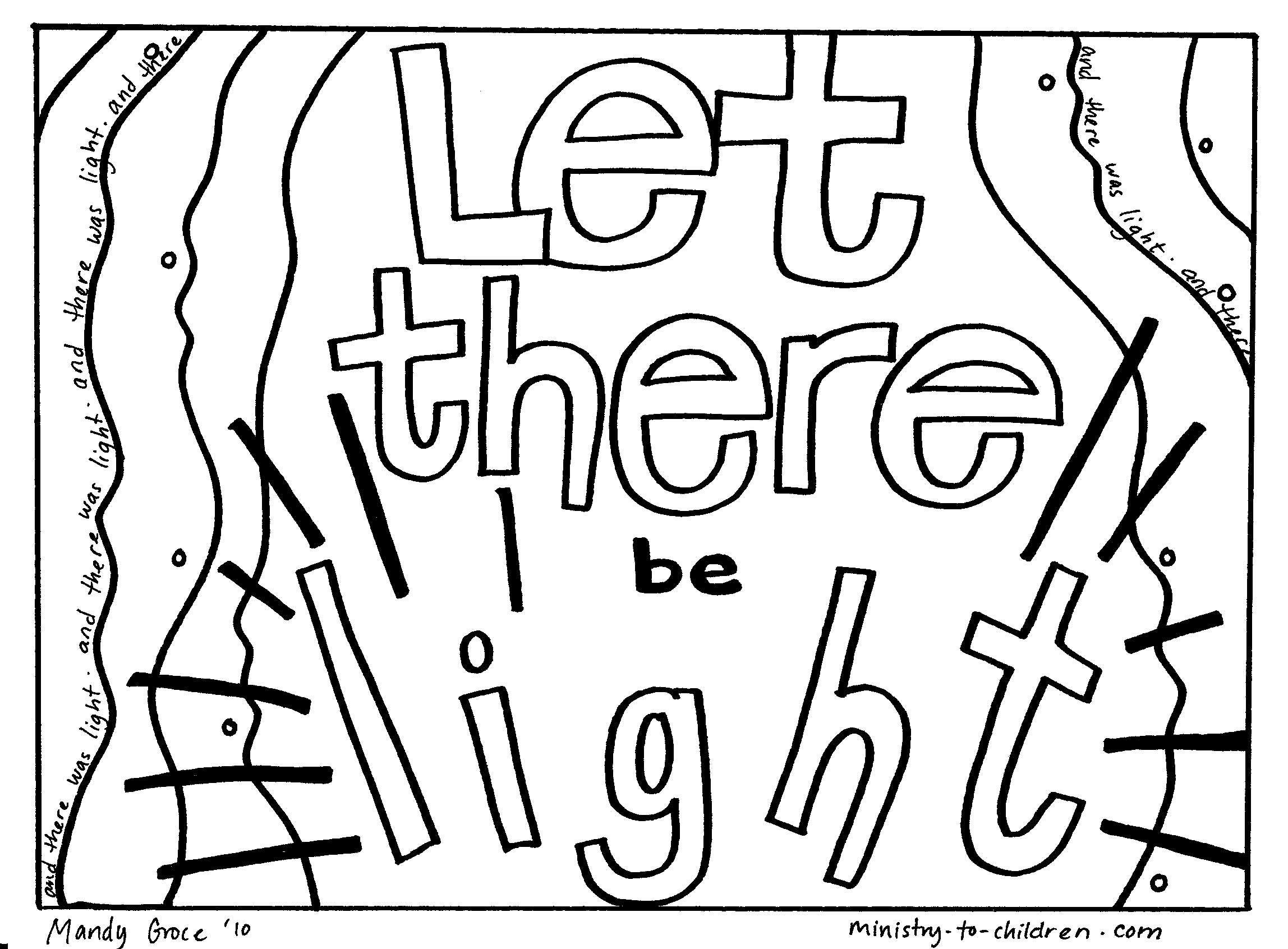 """Creation Coloring Pages """"Let There Be Light"""""""