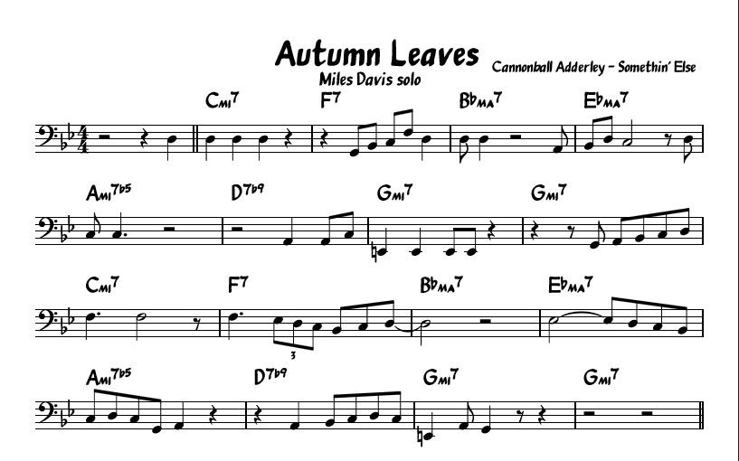 Autumn Leaves Miles Davis A Section Part 14 Matt Lawton Bass
