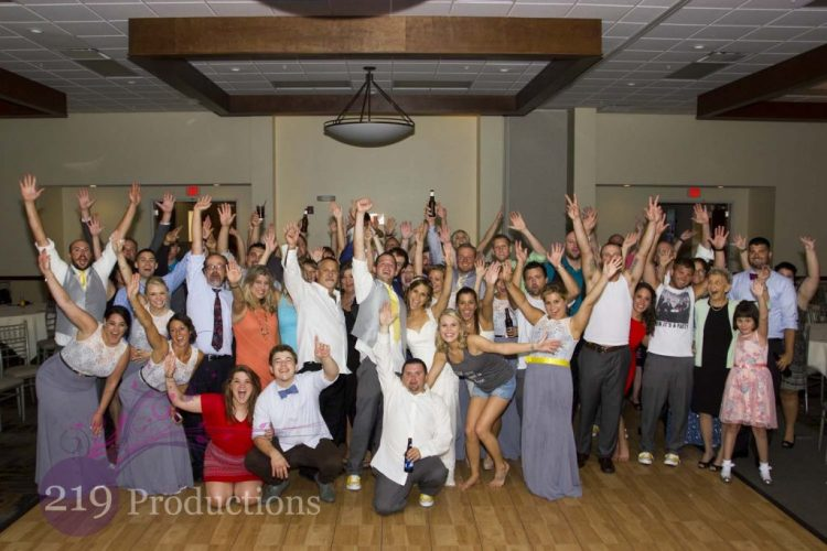 Signature Banquets Wedding DJ Group Photo Hands Up
