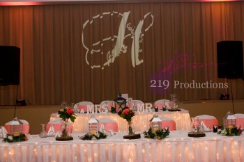 Hellenic Cultural Center Monogram Uplighting Wedding