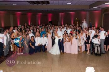 Villa Cesare Pink Uplighting Group Photo Wedding
