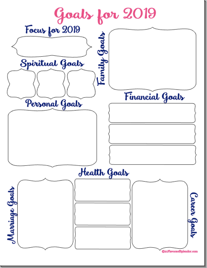 graphic regarding Goals Printable identified as Determine Your 12 months By way of Ecosystem Objectives + No cost Printable - 21