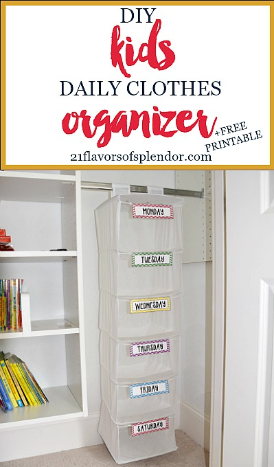 Stop the daily what to wear battle with your kids by creating an organization system everyone will love. How to create a DIY kids daily clothes organizer. Click...