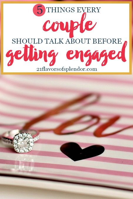 Getting engaged and then getting married was a very exciting time in our lives. Here are five things every couple should talk about before getting engaged. Click... #relationships #marriage #engagement