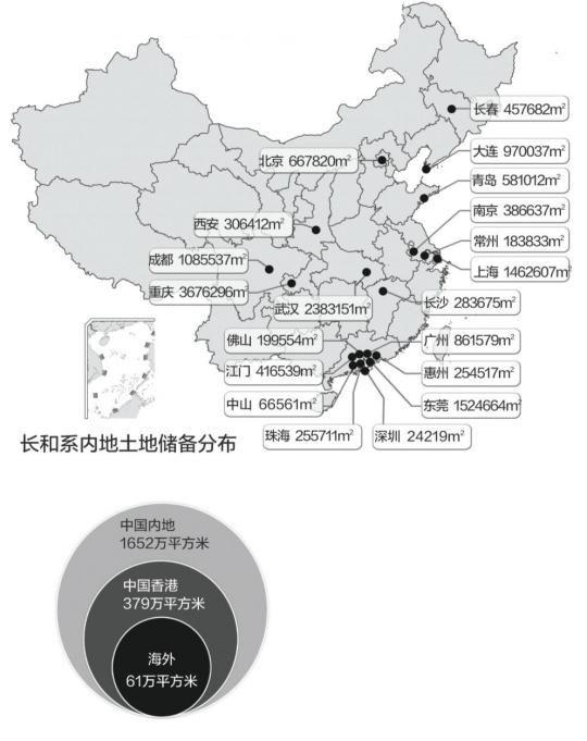 李嘉诚内地储地1652万平方米 总值约为396亿元