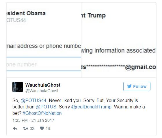 美国总统官方Twitter账户@POTUS被发现只与私人Gmail邮箱绑定