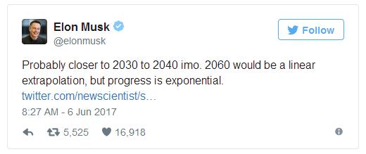 马斯克:2030年AI就能在一切领域击败人类