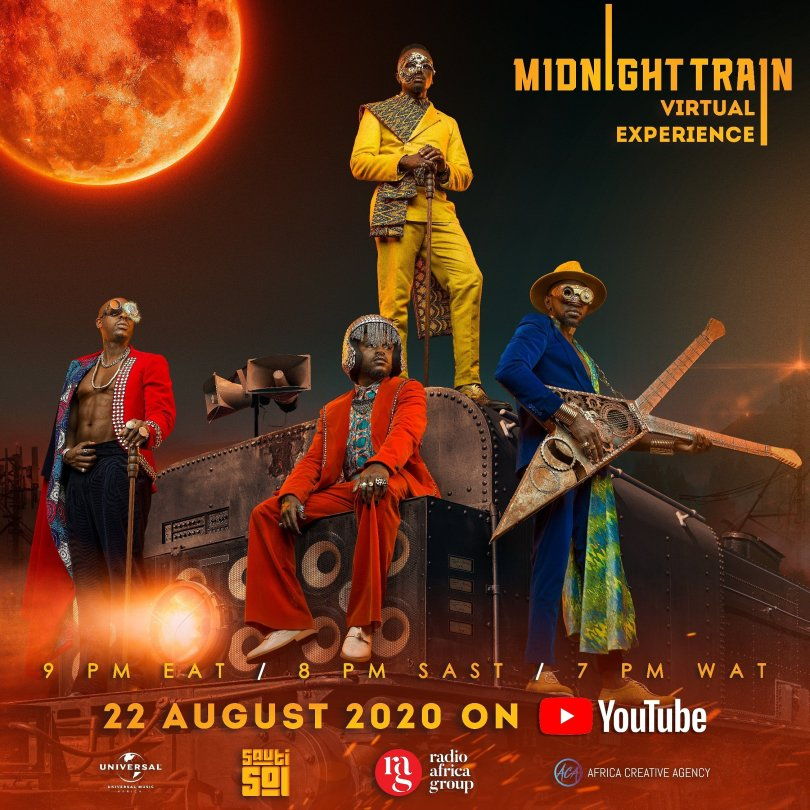 midnight train virtual experience poster with information on time of the concert