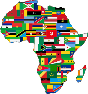 map of Africa with country territories represented by national flags from whom the next AU chair will be elected