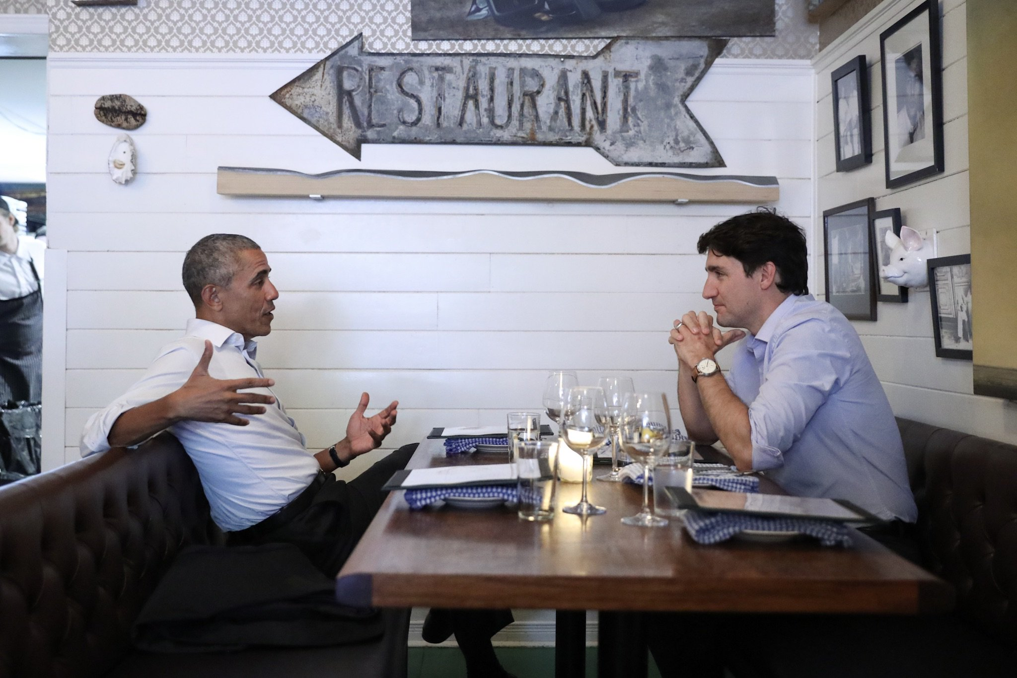 The Obamas in retirement: Obama and Trudeau at the Chili Liverpool House Restuarant in Montreal, Canada