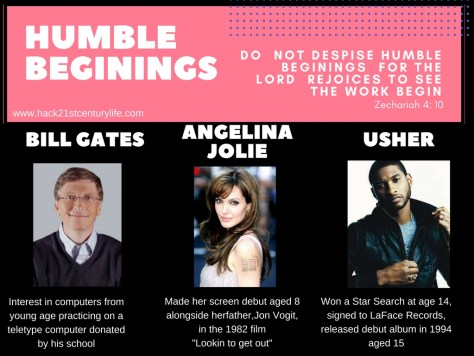 building a great professional resume starts from humble beginings like those of Angelina Jolie, Usher and Bill Gates