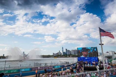 New York City Fire department's boat fizzes out a majestic fountain as an ode to the 2017 New York ePrix