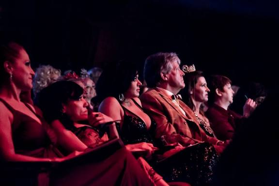 Roxi DLite and her fellow judges observe the 2013 Tournament of Tease at the Burlesque Hall of Fame Weekend 2013.  ©Chris Harman