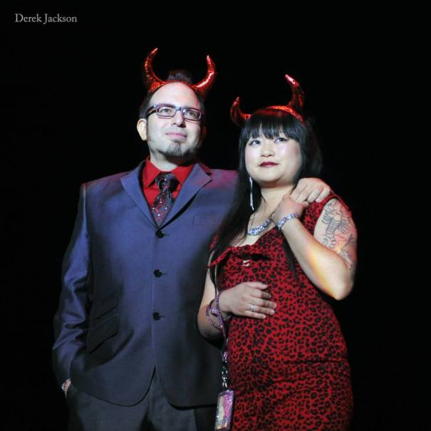 Mig Ponce and Joyce Tang share fond memories of Sparkyl Devil during the Movers, Shakers and Innovators showcase at The Burlesque Hall of Fame Weekend 2013.  ©Derek Jackson