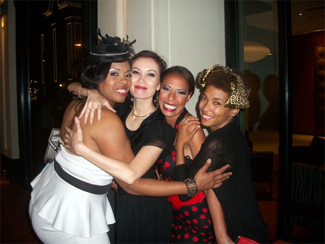 Donna Denise, Eva Strangelove, Red Bone and Jeeze Loueez at the Colorado Burlesque Festival 2013.  ©Goldie Candela