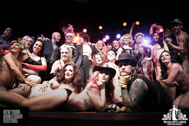 The cast of the New York Burlesque Festival Friday Night Premiere Party. ©Angela McConnell