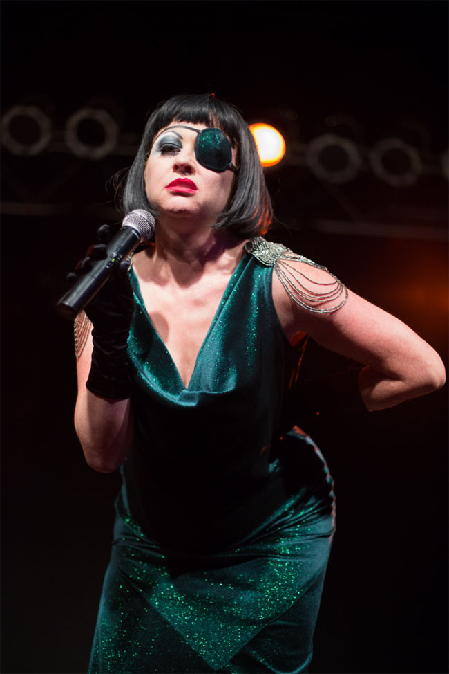 Miss Astrid hosting at the Vermont Burlesque Festival 2014. ©Michael Z Rork, Zinfandel Photography