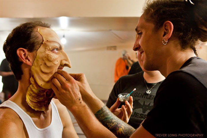 The makeup and costume process at Theatre Bizarre: The Procession.  ©Trever Long