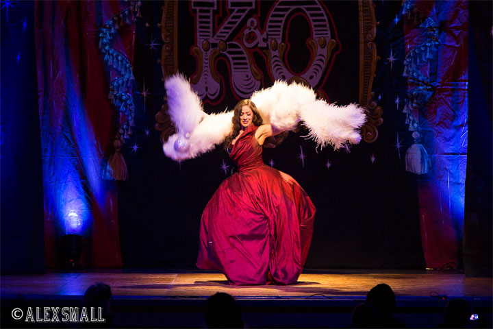 Kitty Bang Bang at the Kinky & Quirky Burlesque Ball on July 5th 2014, Devon, UK.  ©Alex Small