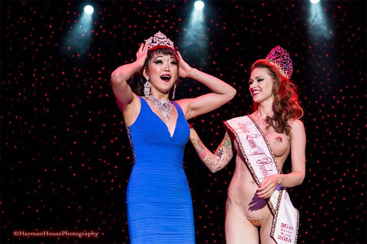 Midnite Martini is crowned Miss Exotic World, Reigning Queen of Burlesque 2014 at the Burlesque Hall of Fame Weekend 2014.  ©Chris Harman/Harmen House Photography