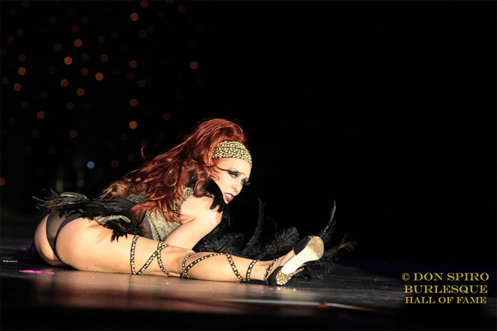 Ophelia Flame competing for Miss Exotic World, Reigning Queen of Burlesque at the Burlesque Hall of Fame Weekend 2014.  ©Don Spiro