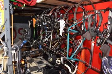 Inside the trailer/mobile bike station