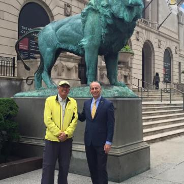In front of the Art Museum of Chicago, the beginning of Route 66.