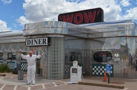 Wilk goofing off in front of the WOW Diner.